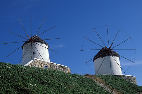 image 9-260-28 Greece, Mykonos, Windmills