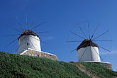 blue sky stock photography | Greece, Mykonos, Windmills, image id 9-260-28