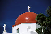 white cross stock photography | Greece, Mykonos, Church roof, image id 9-260-42