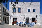 outdoor cafe stock photography | Greece, Patmos, Town square, village of Hora, image id 9-265-69