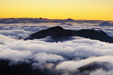 pacific ocean at sunset stock photography | Hawaii, Maui, Sunrise at the crater, Haleakala Nat. Park, image id 5-333-35