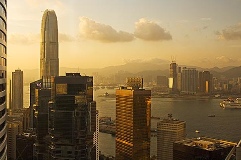image 7-680-6303 Hong Kong, Aerial view of downtown at sunset