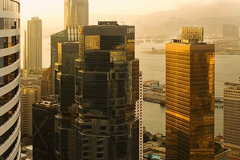 image 7-680-6304 Hong Kong, Elevated view of downtown at sunset