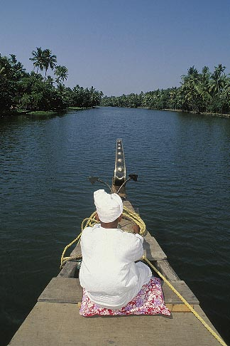 image 7-121-35 India, Kerala, Boatman, coastal backwaters