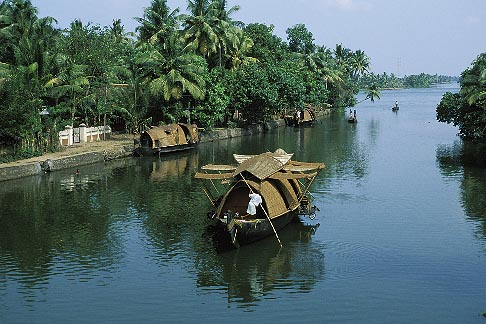 image 7-131-19 India, Kerala, Houseboat in coastal backwaters
