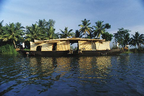 image 7-135-30 India, Kerala, Houseboat in coastal backwaters