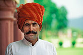 gaze stock photography | India, Rajasthan, Rajasthani man with red turban, image id 7-297-12
