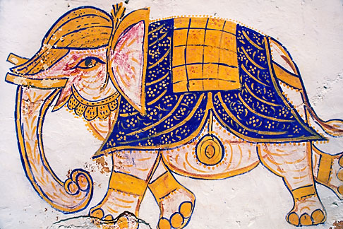 image 7-318-9 India, Rajasthan, Elephant wall painting, Samode village