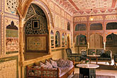 horizontal stock photography | India, Rajasthan, Sultan Mahal lounge, Samode Palace, image id 7-323-12