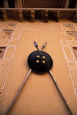 image 7-336-10 India, Rajasthan, Spears and shield, Samode Palace