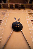 shaped stock photography | India, Rajasthan, Spears and shield, Samode Palace, image id 7-336-10
