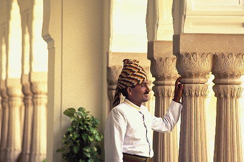 image 7-339-16 India, Jaipur, Turbaned Rajasthani, Rambagh Palace