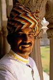 face stock photography | India, Jaipur, Turbaned Rajasthani, Rambagh Palace, image id 7-339-4