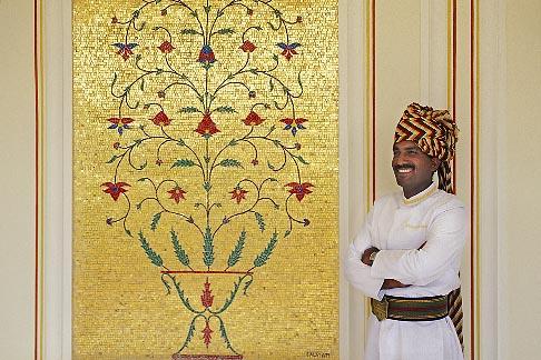 image 7-342-12 India, Jaipur, Turbaned Rajasthani, Rambagh Palace