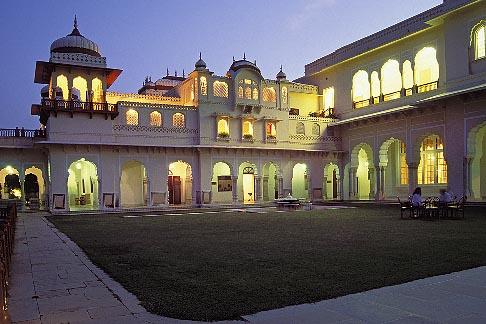 image 7-345-4 India, Jaipur, Rambagh Palace at night