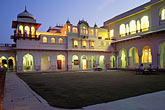 architecture stock photography | India, Jaipur, Rambagh Palace at night, image id 7-345-4