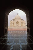 arch stock photography | India, Agra, Taj Mahal and mosque entrance, image id 7-373-7