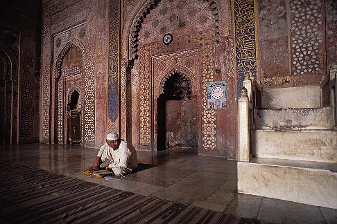 7-384-13  stock photo of India, Agra, Taj Mahal, imam studying in mosque