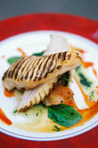 plate stock photography | Food, Charred breast of chicken with spinach confit, image id 4-751-83