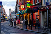 shop stock photography | Ireland, Dublin, Street scene at night, image id 4-900-1868