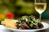horizontal stock photography | Food, Donegal mussels and White Wine, image id 4-900-540