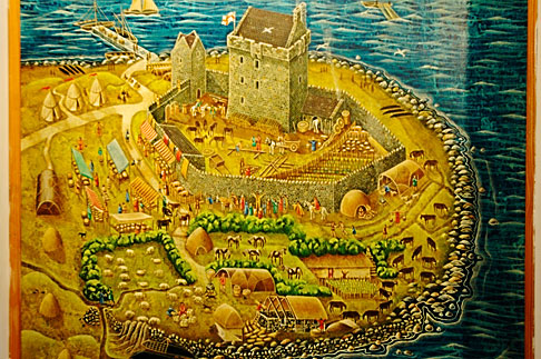 image 4-900-901 Ireland, County Galway, Map of Duinguaire Castle