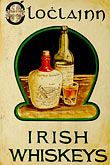 close up stock photography | Ireland, County Clare, Ballyvaughan, Whiskey sign, image id 4-900-922