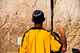 kippot stock photography | Israel, Jerusalem, Man praying, Western Wall, image id 9-340-90