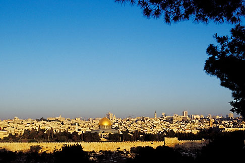 image 9-340-92 Israel, Jerusalem, El Aqsa Mosque and city walls at dawn