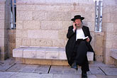 horizontal stock photography | Israel, Jerusalem, Man with cellphone, Western Wall, image id 9-350-8