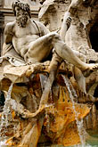 fountain stock photography | Italy, Rome, Detail, Fountain of the Four Rivers by Bernini, Piazza Navona, image id S4-500-3969
