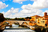 blue sky stock photography | Italy, Rome, Bridge over the Tiber, image id S4-502-989