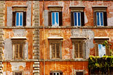 window stock photography | Italy, Rome, Wall with windows, Piazza Farnese, image id S4-503-5534