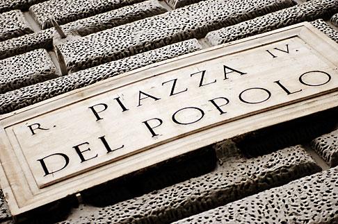 image S4-505-6294 Italy, Rome, Piazza Del Popolo Sign