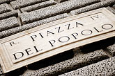 horizontal stock photography | Italy, Rome, Piazza Del Popolo Sign, image id S4-505-6294
