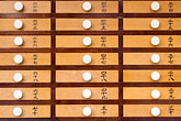 full frame stock photography | Japan, Tokyo, Asakusa Temple, detail, drawers of prayers, image id 5-850-1791