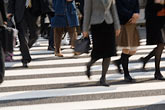 business district stock photography | Japan, Tokyo, Pedestrians crossing street, Ginza, image id 5-850-2712