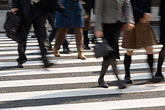 business district stock photography | Japan, Tokyo, Pedestrians crossing street, Ginza, image id 5-850-2713