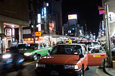 illuminated stock photography | Japan, Kyoto, Taxis at night, image id 5-855-2471