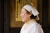 scarf stock photography | Japan, Kyoto, Woman cook in restaurant, image id 5-855-2587