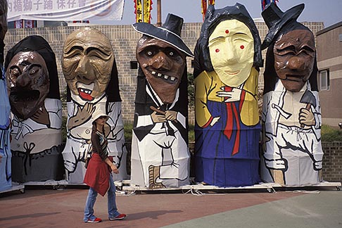 image 2-702-33 South Korea, Andong , Mask Dance Festival, Large masked figures