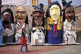pedestrian stock photography | South Korea, Andong , Mask Dance Festival, Large masked figures, image id 2-702-33
