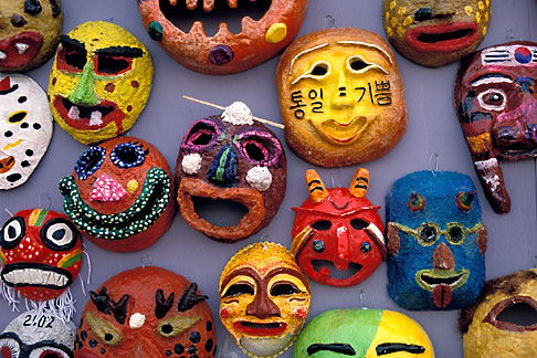 2-702-41  stock photo of South Korea, Andong , Mask Dance Festival, Masks