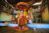 monk meditating stock photography | Laos, Vientiane Province, Buddhist monk, Hinh Heub village, image id 8-630-3