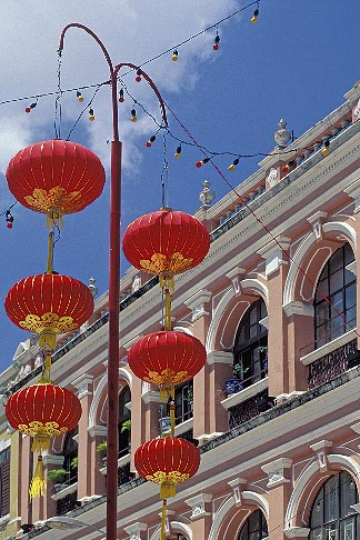 image 5-407-21 Macau, Leal Senado Square  colonial building and chinese lanterns