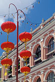 facade stock photography | Macau, Leal Senado Square - colonial building and chinese lanterns , image id 5-407-21