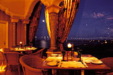 restaurant at night stock photography | Macau, Mezzaluna restaurant, view of Taipa bridge, image id 5-416-29