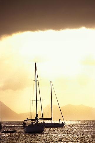image 8-282-5 Martinique, Ste Anne, Sailboat in harbor