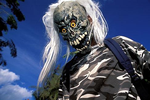 image 9-32-60 Martinique, Carnaval, Skull costume