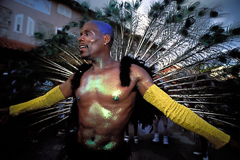 image 9-33-83 Martinique, Carnaval, Caraval celebrant with feathers